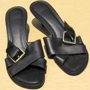 Audrey Brooke Leather Buckle Heel Sandal Mule